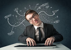 Young hacker with white drawn line thoughts Stock Images