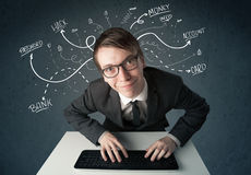 Young hacker with white drawn line thoughts Royalty Free Stock Image