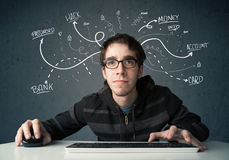 Young hacker with white drawn line thoughts Royalty Free Stock Photography