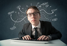 Young hacker with white drawn line thoughts Royalty Free Stock Photo