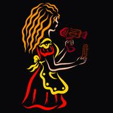 Young hairdresser in red dress with hair dryer and comb royalty free illustration