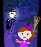 Young Halloween witch and cute monster vector Stock Photos