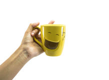 Young hand hold single cup Royalty Free Stock Photography