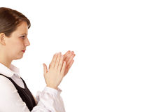 Young handesome business woman claps with hands Stock Photo