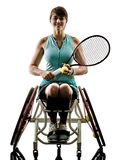 Young handicapped tennis player woman welchair sport isolated si Stock Image