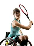 Young handicapped tennis player woman welchair sport isolated si Royalty Free Stock Images