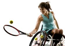 Young handicapped tennis player woman welchair sport isolated si stock photo