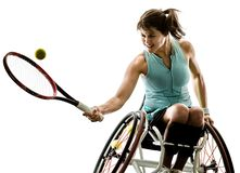Young handicapped tennis player woman welchair sport isolated silhouette stock images