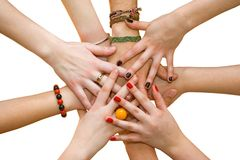 Young hands I. The linked hands symbolizing teamwork and friendship Stock Image