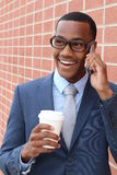 Young handsome African American attorney on a business call interview for a new job Royalty Free Stock Photography