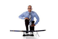 Young handsome African American businessman, sword Stock Image