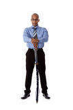 Young handsome African American businessman, sword Stock Photography