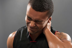 Young handsome African basketball player feeling Stock Images