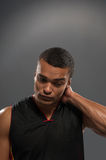 Young handsome African basketball player feeling Royalty Free Stock Photography