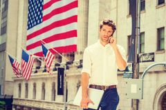 Young Handsome American Man traveling, working in New York Royalty Free Stock Photos