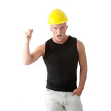 Young handsome angry builder. Stock Image