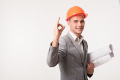 Young handsome architect engineer posing Royalty Free Stock Image