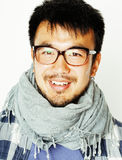 Young handsome asian man hipster in glasses on white background, lifestyle people concept Royalty Free Stock Photo