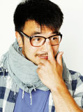 Young handsome asian man hipster in glasses on white background, Royalty Free Stock Photo