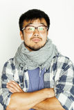 Young handsome asian man hipster in glasses on white background smiling, modern lifestyle concept Royalty Free Stock Photos