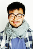 Young handsome asian man hipster in glasses on white background Stock Photography