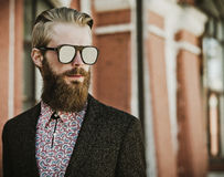 Young handsome attractive bearded model man Royalty Free Stock Images