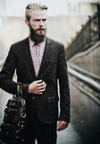 Young handsome attractive bearded model man Stock Photography