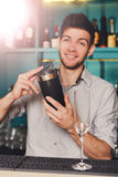 Young handsome barman in bar shaking and mixing alcohol cocktail. Young handsome barman in bar interior shaking and mixing alcohol cocktail. Professional stock photos