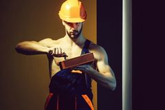 muscular man builder royalty free stock photo