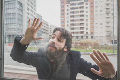 Young handsome bearded man posing behind a glass Stock Photos