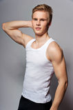 Young handsome blond man wearing t-shirt Royalty Free Stock Photos