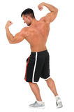 Young handsome bodybuilder man posing for fitness fashion shoot. Isolated on white. Royalty Free Stock Photography