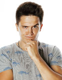 Young handsome brunete man emotional posing on white background isolated Stock Images