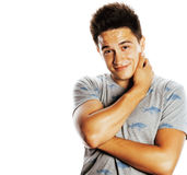 Young handsome brunete man emotional posing on white background Royalty Free Stock Photos
