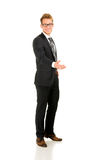 Young, handsome business man full-length portrait. Isolated on the white background stock images