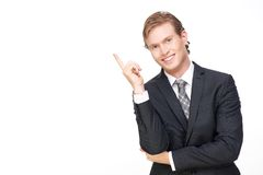 Young Handsome Business Man Pointing Up Royalty Free Stock Photo