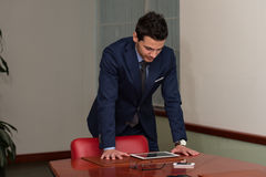 Young Handsome Businessman In Blue Suit Stock Photo