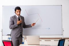The young handsome businessman in front of whiteboard stock photos
