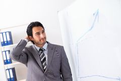Young handsome businessman in front of whiteboard. The young handsome businessman in front of whiteboard stock photos