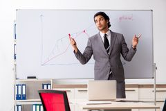 Young handsome businessman in front of whiteboard. The young handsome businessman in front of whiteboard stock images