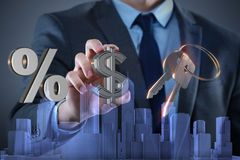 The young handsome businessman in mortgage concept Royalty Free Stock Photography