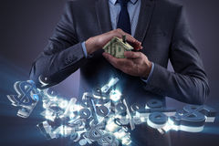 The young handsome businessman in mortgage concept Stock Images