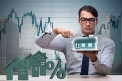 The young handsome businessman in mortgage concept Royalty Free Stock Photo