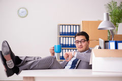 The young handsome businessman moving offices Royalty Free Stock Photo
