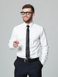 Young handsome businessman pointing at you  isolated on gray bac Royalty Free Stock Image