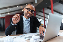 Young handsome businessman pointing at you stock photos