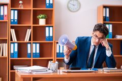 The young handsome businessman working in the office stock photo