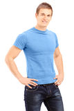 Young and handsome casual man posing Stock Images