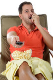 Young handsome caucasian man, popcorn Royalty Free Stock Photo