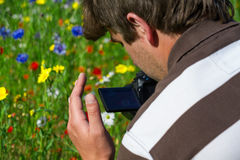 Young handsome caucasian photographer/videographer in botanic gardens. Royalty Free Stock Image